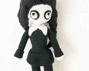 Crochet pattern, Crochet pattern Wednesday Addams doll pattern pdf, Wednesday Addams pattern, tutorial crochet amigurumi Wednesday Addams