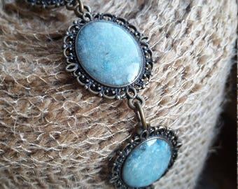 Light Blue Smooth Chip Inlay Filligree Bracelet