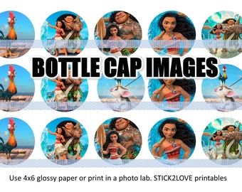 """Moana new printables  4x6 - 1"""" circles, bottle cap images, stickers"""
