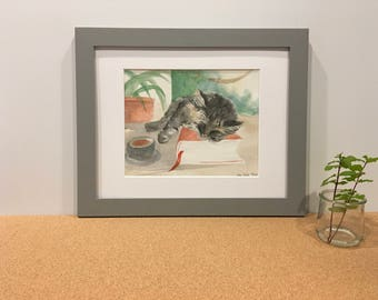 Cat Art; Cat Watercolor Print; Cat Art Print; Whimsical Cat Print; Gift for Cat Lovers; Booklover Gift; Gift for Her; Cat Wall Decor