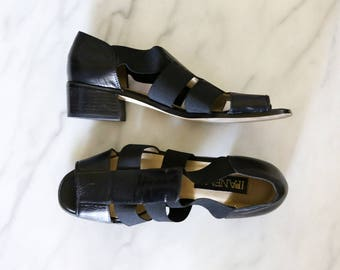 1980's Black Leather Strappy Sandals