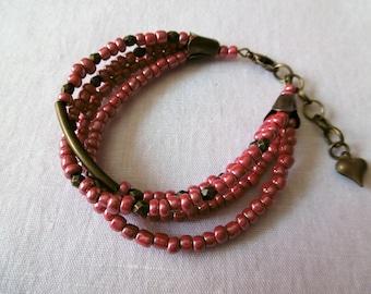 Bracelet multi strand Bohemian cherry seed beads