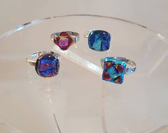 Dichroic glass adjustable statement rings, unique, one of a kind, handcrafted