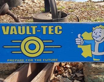 "Distressed Primitive Gaming Wood Sign - Fallout Vault Tec Guy sign  7.25"" x 24"""