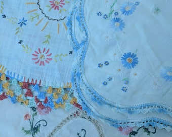 Vintage Embroidery Crochet Table Linen Cottage Chic Decor primitive Decor