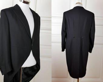 Morning Coat,  Black Wool Finnish Vintage Morning Jacket, Formal Tailcoat, European Cutaway Coat, Steampunk Coat Jacket: Size 40 (US/UK)