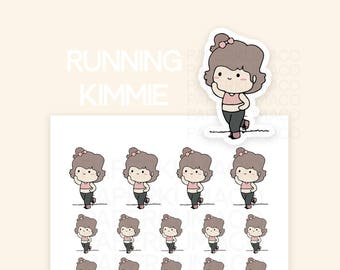 running workout character icon kawaii cute stickers for bullet journals and planners - C028