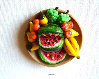 Magnet frigo corbeille des fruits