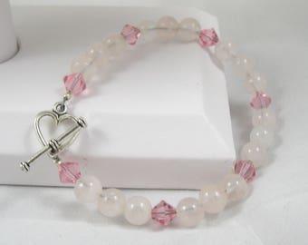 Rose Quartz Bracelet, Swarovski Crystal, Beaded Bracelet