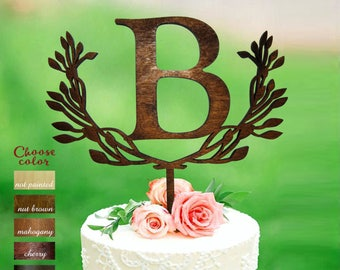 Letter b cake topper, cake toppers for wedding, letter cake topper wedding, wreath cake topper, monogram cake topper, cake topper b, CT#134