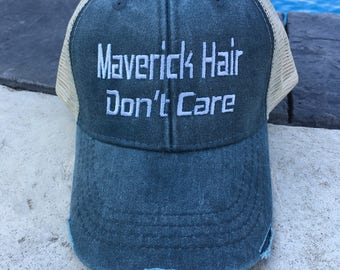 Maverick Hair Don't Care, Maverick, UTV, Can-am, hair don't care, trucker hat, mesh, distressed hat, vintage