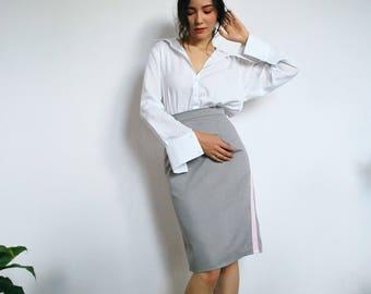 Grey skirt, pencil skirt, office skirt, high waist skirt, formal clothing, formal skirt