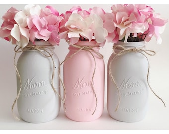 Pink Mason Jars, Pink and Gray, Babyshower Decor