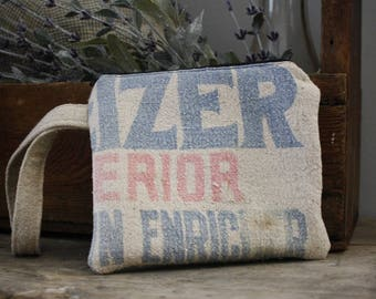 Vintage Seed Sack Wristlet | Upcycled | Repurposed | Feedsack Pouch | Grain Sack | Seedsack | Red Ticking