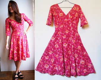 gorgeous 1950s dress, rockabilly, 50s fit and flare, vintage dress, wedding, Extra Small, XS