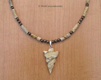 Picture Jasper Arrowhead Pendant Necklace