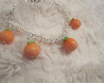 Kawaii Peach Bracelet with Clear Swarovski Crystals