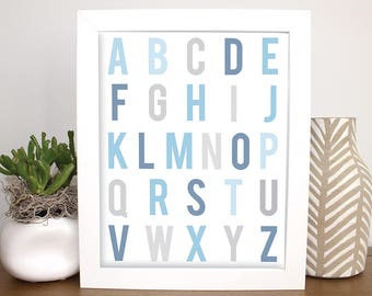 Gray and Blue Alphabet, 8x10 Childrens Wall Art, Printable, Baby Gift, Nursery Art, Kids Wall Art, Baby Shower, Gray Baby Art