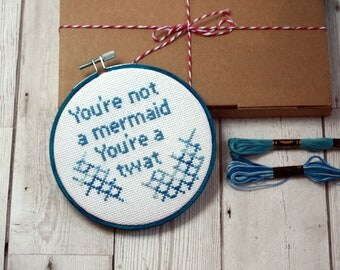 You're not a mermaid Modern cross stitch kit Beginners instruction guide easy pattern Offensive rude  swear words embroidery kit mature