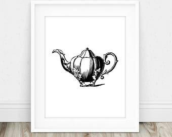 Tea Poster - Teapot Print, Tea Lover Art, Tea Pot Print, Tea Wall Art, Printable Tea Art, Kitchen Art Print, Vintage Teapot Print