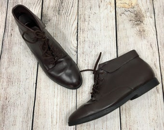Vtg 80s Danexx Brown Cascade Lace Up Ankle Boots