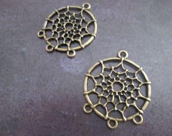 10 support of stud earrings / bronze metal dream catcher pendants