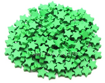 wood star beads 15 mm Green 10 beads