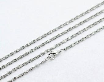 matte silver chain 46cm with lobster clasp closure