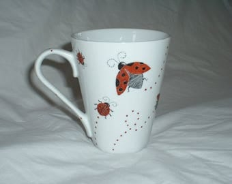 Hand painted ladybugs and polka dot mug
