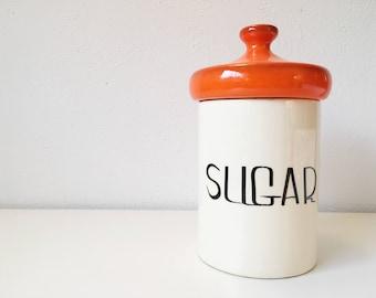 LARGE Vintage Ceramic Kitchen Sugar Canister Mushroom Shape Lid + Atomic Orange + Retro Storage Organization + Holiday Designs