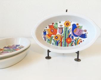 Vintage Royal Crown Paradise Porcelain Ovenware Baking Dishes + Set of 3 + Au Gratin + Flower Bird + Retro Mid Century Modern + Mod Kitchen