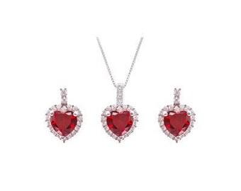 Red Garnet Heart set