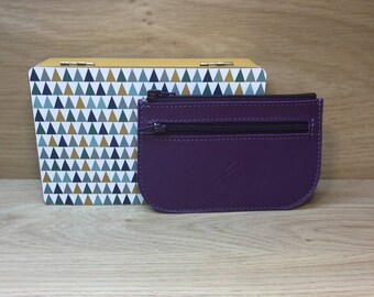Purple calf leather card wallet
