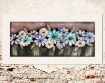 Floral aqua 1200mm-600mm (P/H included in price)
