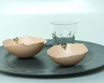 Ceramic bowl peach, set of two