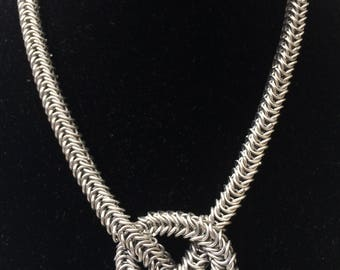 Chainmaille necklace, silver necklace, chainmaille box, old silver jewelry, old silver necklace, silver bracelet, Tessa's chainmail.