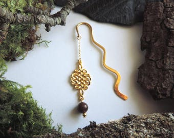 Semi-precious bookmarks: Golden tracery and Tiger eye bead.