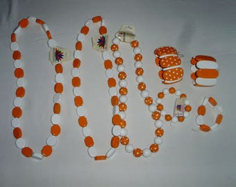 Lot Of UT Tennessee Vols Orange And White Beaded Craft Jewelry Hand Made By Fances Mer
