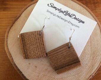 Reclaimed Wood Earrings, FREE SHIPPING, Chestnut Wooden Earrings,  Handcrafted Earrings, Wooden Earrings, 925 Sterling Silver