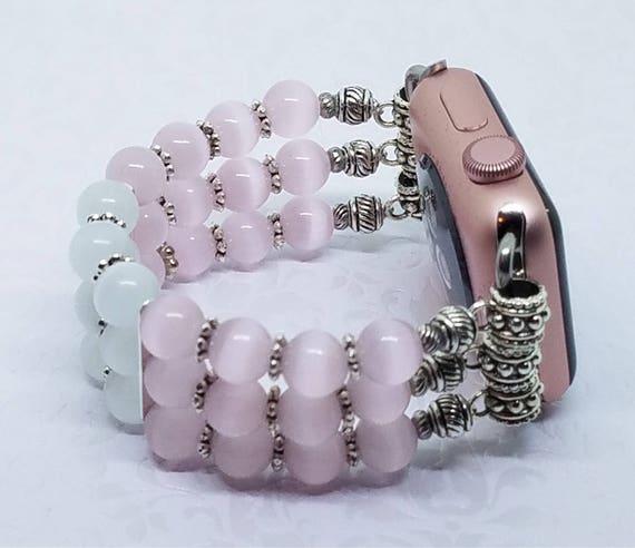 """Apple Watch Band, Women Bead Bracelet Watch Band, iWatch Strap, Apple Watch 38mm, 3 Strand, Soft Pink & White Cat's Eye 6"""" - 6 1/4"""""""