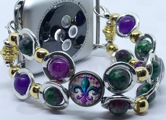 Apple Watch Band, Women Bead Bracelet Watch Band, iWatch Strap, Apple Watch 38mm, 42mm, Mardi Gras Purple Green Gold Silver Size 6 3/4 - 7""