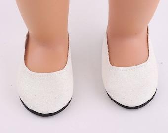 """White Glitter Slipper Shoes for 18"""" Doll"""