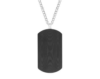 """Carbon Fiber Rectangle Dog Tag Pendant with Wood Grain Like Design, 24"""" Chain Necklace"""