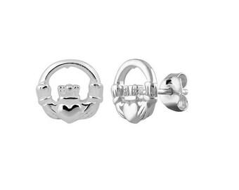 Claddagh Sterling Silver Stud Earrings