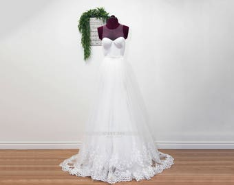 Bridal Overskirt, Tulle Overskirt, Lace Bridal Overskirt, Lace Wedding Overskirt, Wedding Dress Overskirt, Detachable Train. #S02