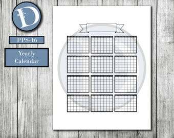 PPS-16 // Printable Yearly Calendar - Printable Calendar - Bullet Journal - Bujo - Monthly Calendars - Calendar for a Year - Yearly Tracker