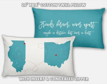 Best Friend Gift Personalized Ideas Christmas Gift for Best Friend Long Distance Guy 3 Birthday Gift Moving Away Going Away 2 Map Pillow Art