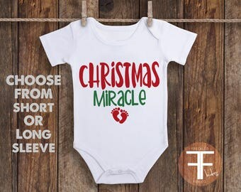 Christmas Miracle Onesie®, Miracle Baby, IVF Baby Onesie, Baby Onesie, Onesie for Boy, Onesie for Girl, For This Child We Have Prayed Onesie