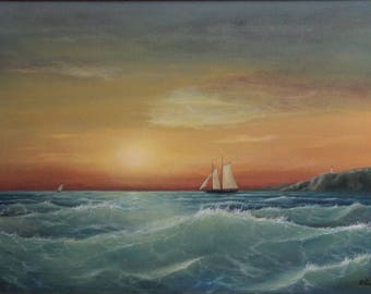 Old barca, Seascape painting, oil, canvas, original  painting, sea, seascape, waves, sailing ship, sunset, clouds, sun, lighthouse, water
