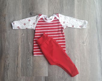 Newborn outfit/Gender neutal baby clothes/Newborn baby outfit/unisex baby clothing set/0-3month shirt and pants/red and white baby clothes